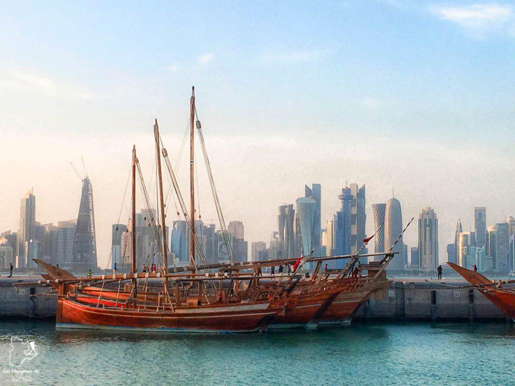 Les Dhows qui permettent de s'approcher de la skyline dans notre article Visiter Doha au Qatar: Que faire pendant une escale à Doha de 24 heures #doha #qatar #voyage #escale