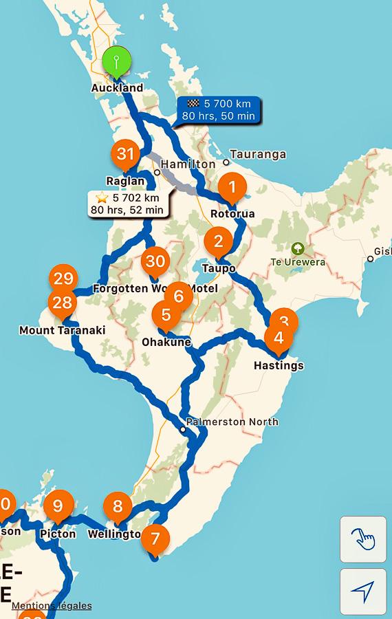 Carte de mon itinéraire sur l'île du Nord en Nouvelle-Zélande dans notre article sur l'Île du Nord en Nouvelle-Zélande : Incontournables et itinéraire de mon road trip #nouvellezelande #oceanie #voyage #iledunord #roadtrip #itineraire #carte