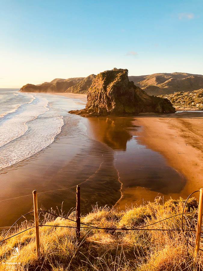 Lion Rock sur Piha beach Auckland sur l'île du Nord en Nouvelle-Zélande dans notre article sur l'Île du Nord en Nouvelle-Zélande : Incontournables et itinéraire de mon road trip #nouvellezelande #oceanie #voyage #iledunord #roadtrip #auckland