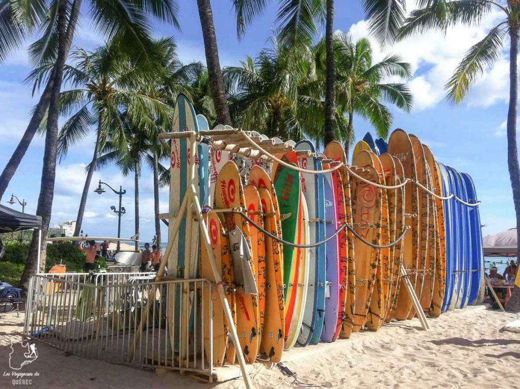 Surf à Waikiki sur l'île d'Oahu dans notre article L'île d'Oahu à Hawaii : Activités incontournables à faire lors d'un road trip #oahu #roadtrip #ile #hawaii #waikiki #surf