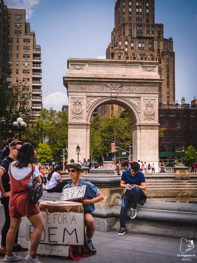 Washington Square Park dans Greenwich Village dans Manhattan à New York dans notre article Manhattan à New York : exploration urbaine des quartiers de Manhattan #newyork #ville #usa #manhattan #etatsunis #amerique #citytrip #greenwichvillage