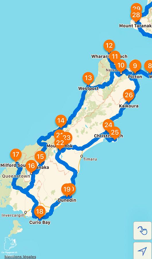 Itinéraire de mon road trip sur l'île du Sud en Nouvelle-Zélande dans notre article Île du Sud en Nouvelle-Zélande : Incontournables et itinéraire détaillé de mon road trip #nouvellezelande #ile #sud #itineraire #voyage #oceanie #roadtrip