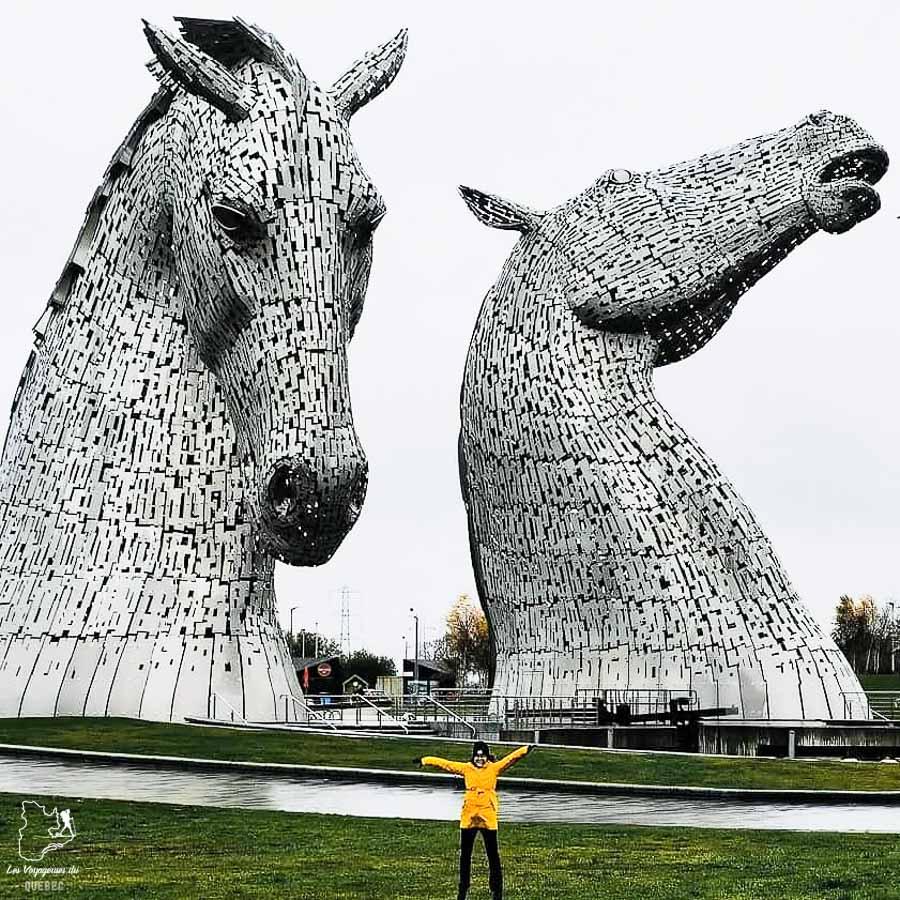 Kelpies sur le route vers les Highlands en Écosse dans notre article Road trip en Écosse : Une semaine de road trip sportif et gastronomique #ecosse #roadtrip #europe #grandebretagne #royaumeunis #voyage